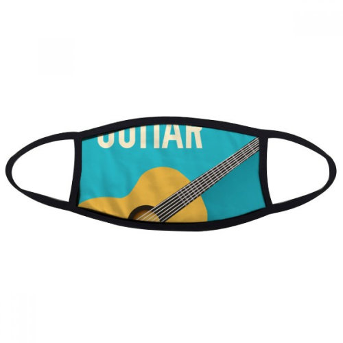 Guitar Music Illustrate Blue Pattern Mouth Face Anti-dust Mask Anti Cold Warm Washable Cotton Gift