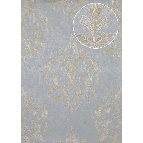 Atlas ATT-5082-2 Baroque wallcovering wall shiny gold cream 7.035 sqm