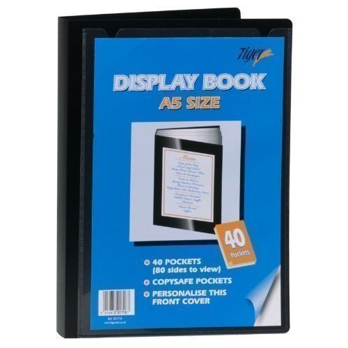 Tiger 40 A5 Pocket Presentation Display Book - Black