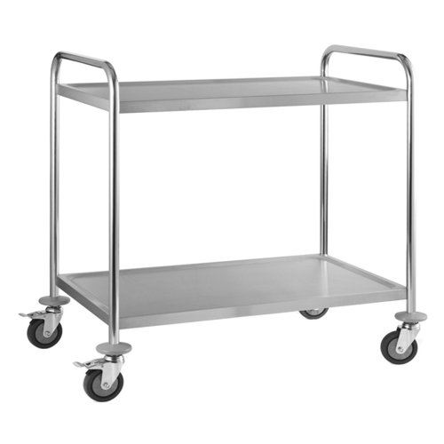 2 Tier Stainless Steel Serving  Clearing & Catering Trolley