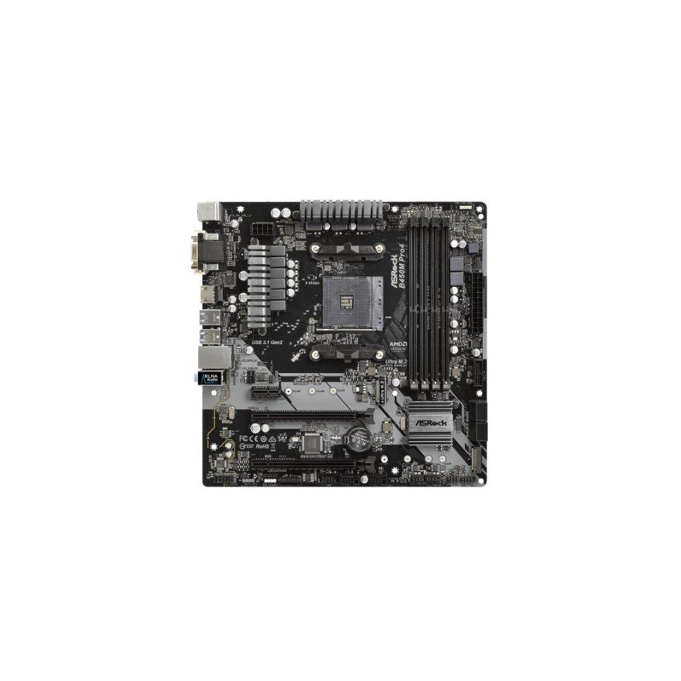 Asrock B450M PRO4, AMD B450, AM4, Micro ATX, 4 DDR4, XFire, VGA, DVI, HDMI,  M 2