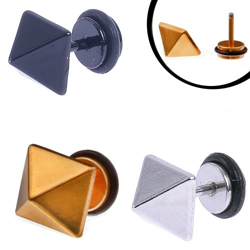 Urban Male Stainless Steel Square Stud Earrings Set in Black Gold & Silver