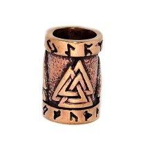 Odins Valknot (Valknut) Viking Bronze Beard Bead Ring