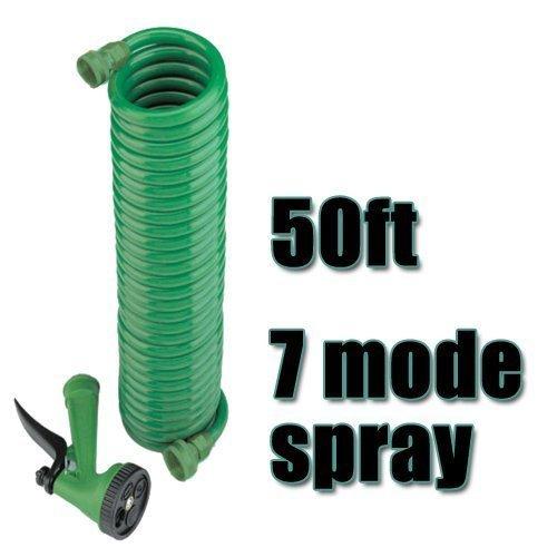 50 Feet Coil Garden Hose With Spray Nozzle -  coil garden hose spray 15m gun 50ft