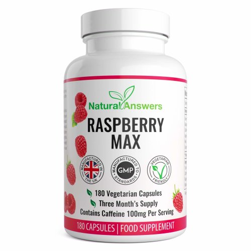 Raspberry Max 180 Vegetarian Capsules 3 Month Supply UK Manufactured by Natural Answers Ingredients Include: Green Tea Extract, Caffeine Anhydrous,...