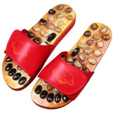 Healthy Antiskid Massage Cobble Décor Wooden Slippers Shoes Flat Heels - Red
