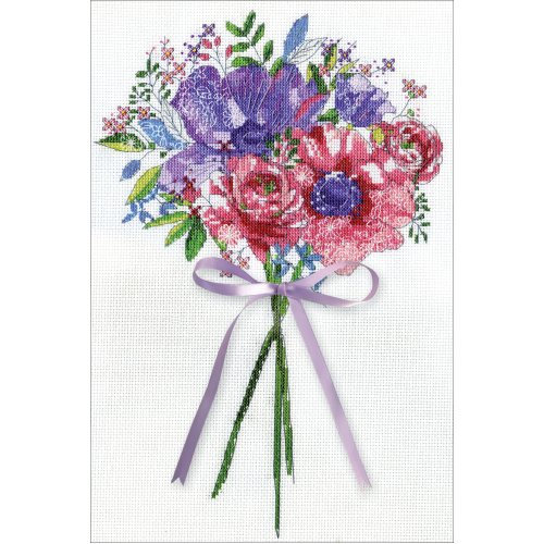 """Design Works Counted Cross Stitch Kit 10""""X14""""-Flowers & Lace (14 Count)"""