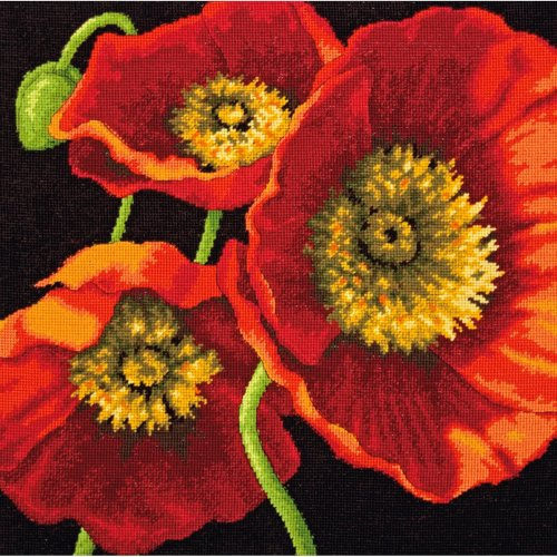 "Dimensions Needlepoint Kit 14""X14""-Red Poppy Trio Stitched In Wool & Thread"