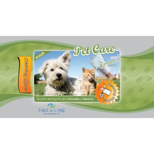 Take&Care Pet Care Wash Cleaning Gloves 5Pk (Pack of 6)