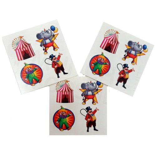 Pack of 12 - Circus Carnival Temporary Tattoos - Party Bag Fillers