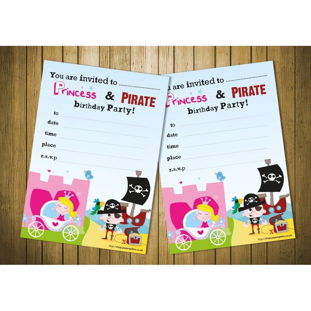 Premium 20 Childrens Birthday Party Invitations Princess And Pirate Boys Girls Invites