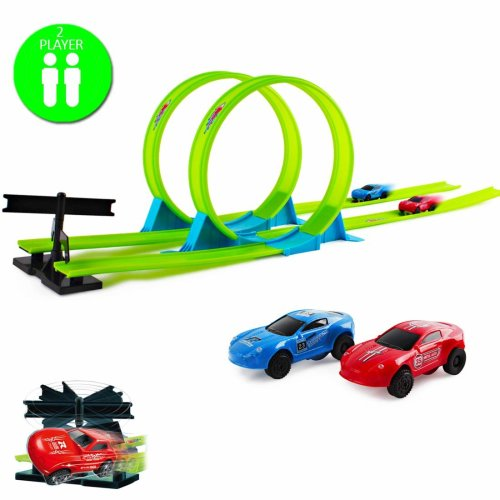 deAO Stunt and Go Truck Loops and Tracks with 2pcs Diecast Mini Toy Speed Racer Car with Light