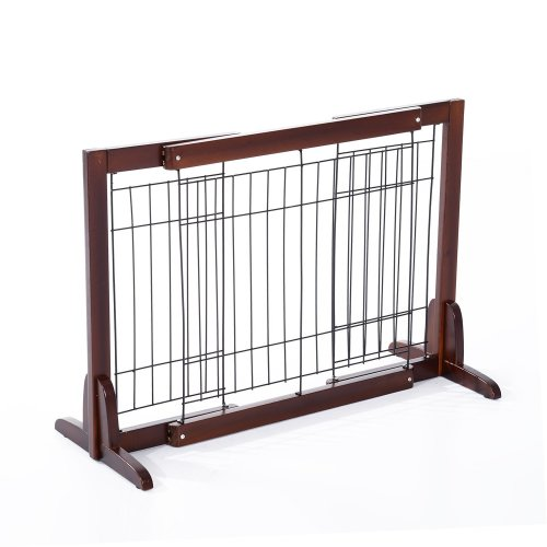 PawHut Freestanding Wooden Pet Fence | Adjustable Pet Gate 58-100cm