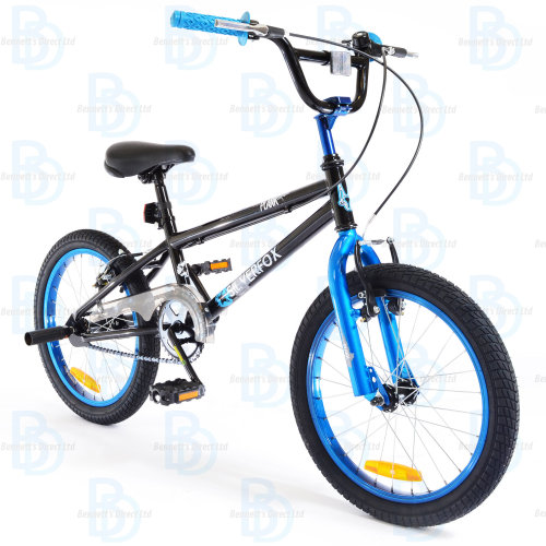 """Silverfox Plank 18"""" Freestyle BMX in Black and Blue"""