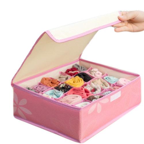 24 Grid Foldable Bra Storage Box with Dust-Proof Lids (Washable, C)