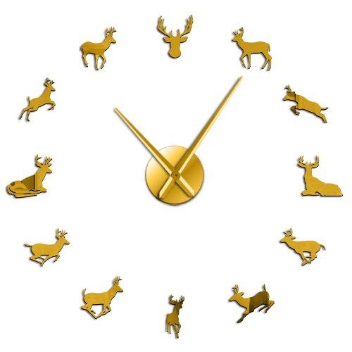 Deer Head DIY Giant  Woodland Deer Hunter Modern Deer Antler Wall Clock