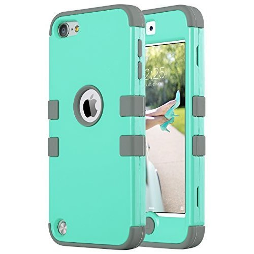 ULAK iPod Touch 6 Case iPod Touch 5 Case Hybrid 3 Layer Hard Case Cover with Silicone Shell Case for Apple iPod Touch Generation 5 6th Aqua Mint Grey