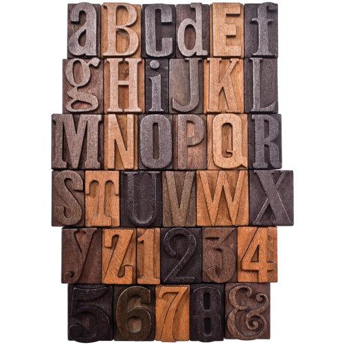 "Idea-Ology Wooden Letterpress Letters 35/Pkg-Alphabet & Numbers 1"""