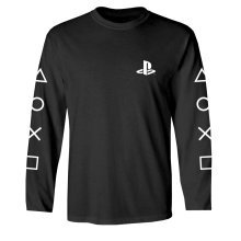 PlayStation Logo & Sleeve Print Long Sleeve Shirt