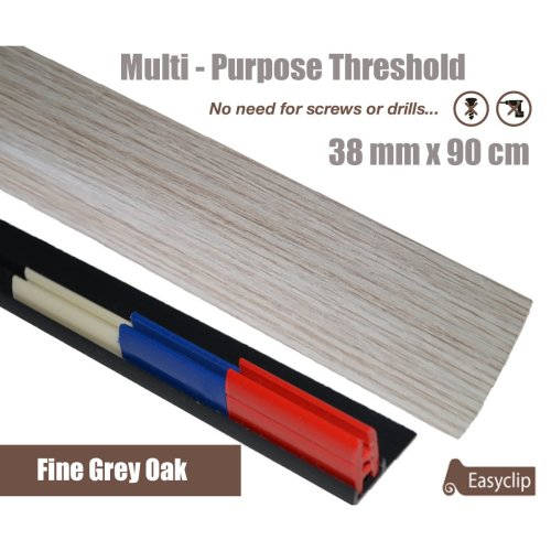 Fine Grey OaK Multi Purpose Threshold Strip 90cm Adhesive Clip System