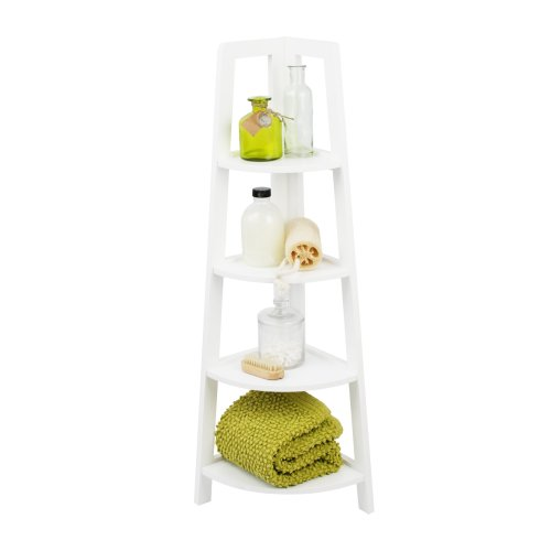 White 4 Tier Ladder Corner Shelving Display Storage Bathroom Bedroom