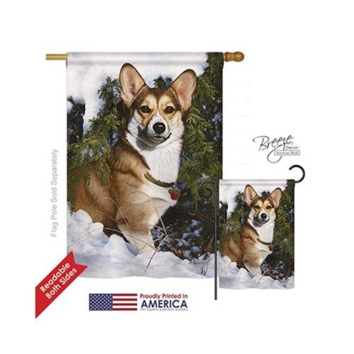 Breeze Decor 10088 Pets Corgi 2-Sided Vertical Impression House Flag - 28 x 40 in.