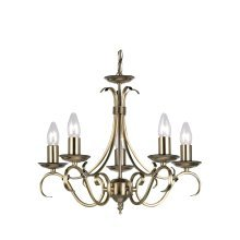 Traditional Antique Brass 5 Arm Ceiling Light