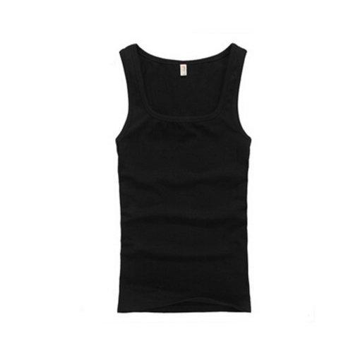 Summer Close-Fiting Bottoming Vest Sport Vest For Men Dark Blcak