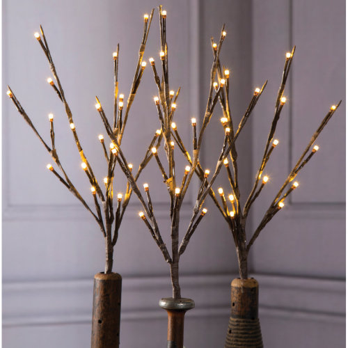 """Darice Battery Operated LED Lighted Branch 17""""-Brown Branches/Warm White Lights"""