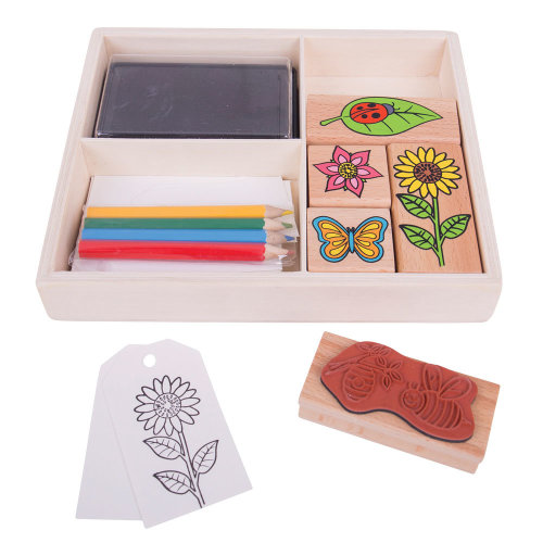 Bigjigs Toys Garden Themed Rubber Stamp and Colouring Set with Ink Pad - Arts and Crafts for Kids