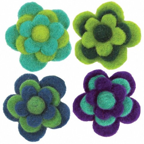 D72-73828 - Dimensions Wool Felt - Layered Cool Flowers (x4)