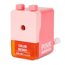 Creative Manual Pencil Sharpener Double Button Students Pencil Sharpener, PINK