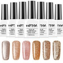 Platinum Gold Glitter UV Gel Nail Polish Soak Off Varnish Nails Art 6 Colors