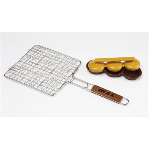 Stainless Mini Burger Grilling Basket - formed wire, Triple Patty Press