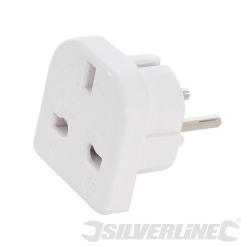 220 - 240v Uk To Eu Travel Adaptor - Silverline 171631 -  travel adaptor eu uk 220 silverline 240v 171631
