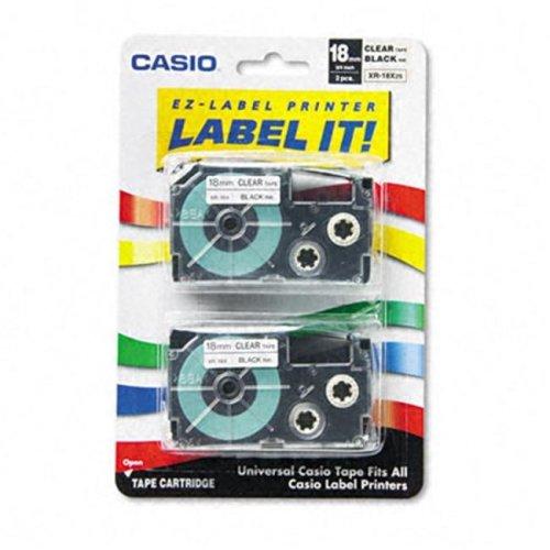 Casio XR18X2S Tape Cassettes for EZ-Label Kl100/780/7200/8100/c500  3/4w  Blk/Clear  2/Pk