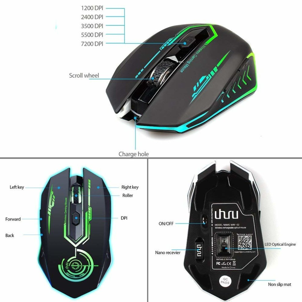 Wireless Gaming Mouse Rechargeable, Up to 7200DPI, 6 Programmable Button, 7  changeable Color MOO RGB Ergonomic Wireless Mouse for Computer PC
