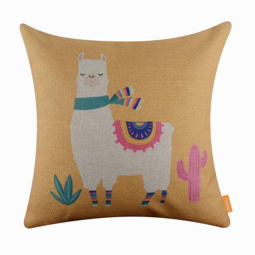 """18""""x18"""" Cartoon Yellow Llama Love Burlap Pillow Cover Cushion Cover"""