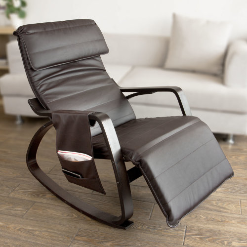 SoBuy® FST20-BR, Rocking Chair Lounge Chair with Adjustable Footrest & Side Bag