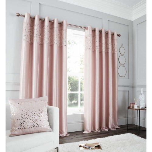 Catherine Lansfield Glitzy Eyelet Curtain 66x72 Inch Blush