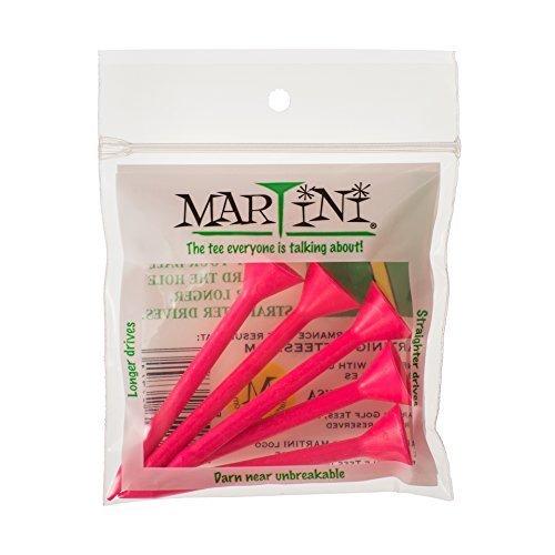 Martini Golf 3-1/4 Durable Plastic Tees 5-Pack (Pink)