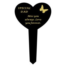 DAD  Black Slim Plastic Heart Memorial Grave Marker Stake