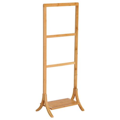 HOMCOM Free Standing Bamboo Towel Rack Holder Clothes Stand Storage Floor Bathroom 3 Rails & 1 Shelf