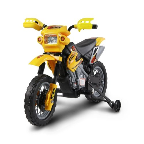 (Yellow) Homcom Kids' Electric 6V Motocross Motorbike