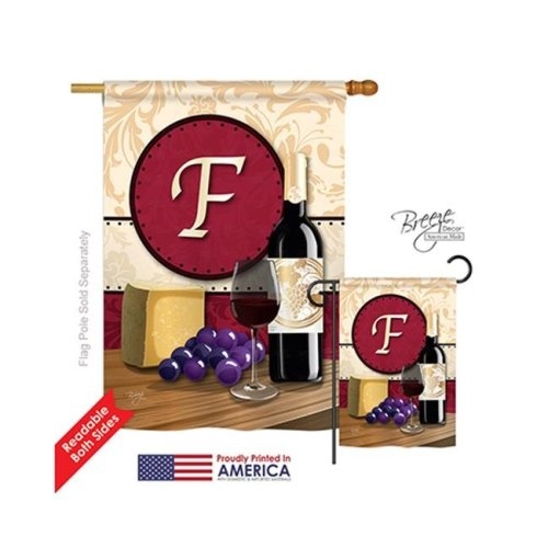 Breeze Decor 30214 Wine F Monogram 2-Sided Vertical Impression House Flag - 28 x 40 in.