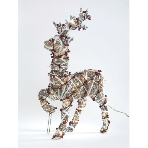 46Cm Rattan Standing Reindeer With Plugin Lights Christmas Tree Decoration