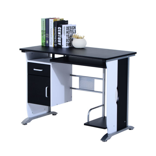 HOMCOM Computer Desk with Sliding Keyboard Tray Storage Drawers and Host Box Shelf Home Office Workstation (Black)