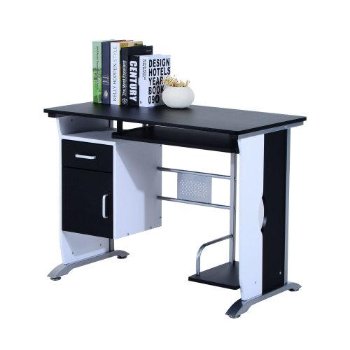 Homcom Computer Desk With Sliding Keyboard Tray Storage Drawers And Host Box Shelf Home Office Workstation Black