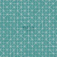 chalk printed eco texture non woven wallpaper geometric shapes dark aqua green