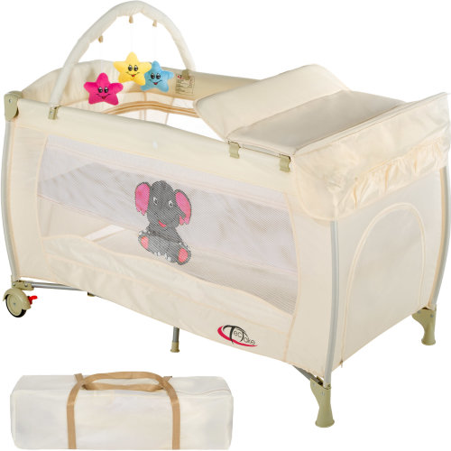 Travel cot elephant with changing mat and play bar beige